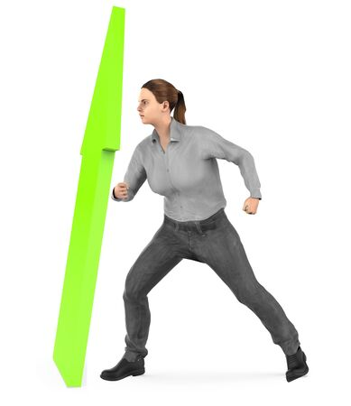 3d character , woman elevating a arrow upward- 3d rendering