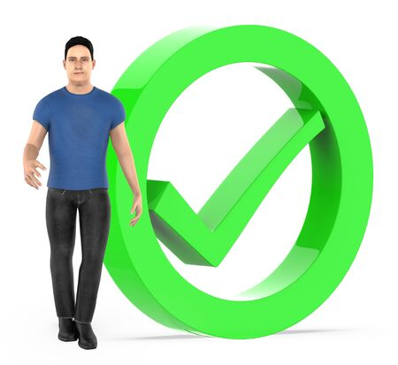 3d character , men and tick mark sign - 3d rendering