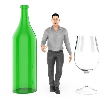 3d character ,man and a bottle and a wine glass - 3d rendering Stock Photo
