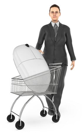3d character , woman cart with a mouse- 3d rendering Stock Photo - 133421527