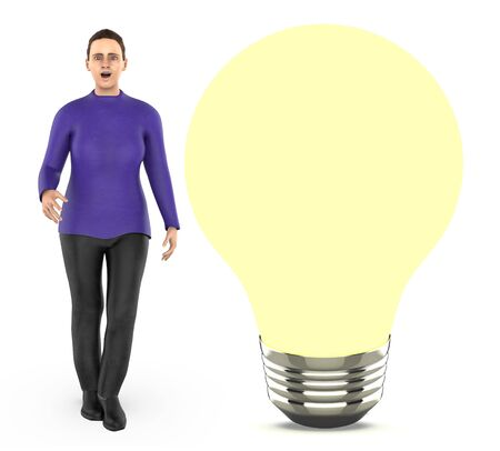 3d character, woman standing near to a iluminated bulb - 3d rendering