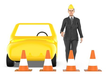 3d character , woman , traffic cones around a car - 3d rendering