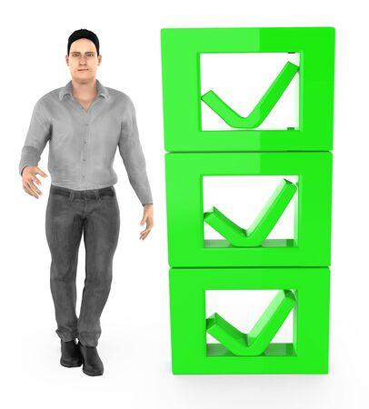 3d character , man and checkmark list - 3d rendering Stok Fotoğraf - 133421939