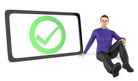 3d character , women sitting next to a tick mark sign bounded by a circle inside a curved edge black border - 3d rendering