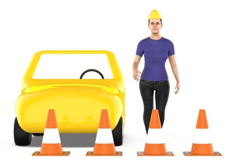 3d character , woman , traffic cones around a car - 3d rendering Фото со стока - 133422052