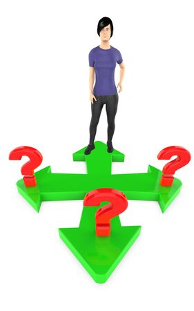 3d character , woman confused , different direction arrows with questions marks all over - 3d rendering