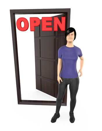 3d character , woman standing near to a opened doorway with red open text - 3d rendering Banco de Imagens