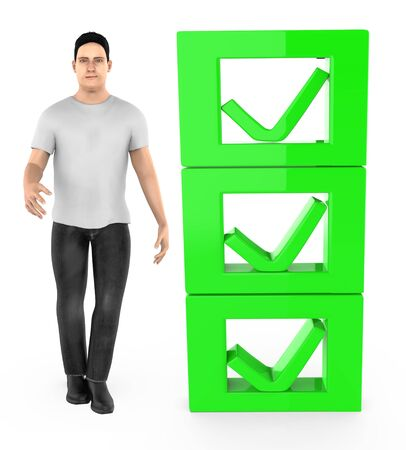 3d character , man and checkmark list - 3d rendering Stok Fotoğraf