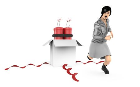 3d character , woman, fearfull , running away from dyanamite inside a gift box - 3d rendering