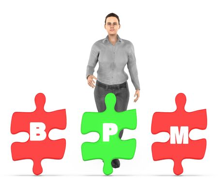 3d character , woman and three of them holding a each jigsaw with letter alphabets b , p and m in it - bpm concept - 3d rendering