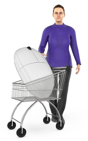 3d character , woman cart with a mouse- 3d rendering Stock Photo - 133422642