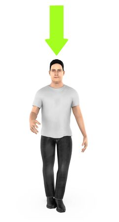 3d character , man , smiling and a green downward pointing arrow above his head- 3d rendering