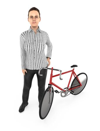 3d character , woman and a cycle - 3d rendering