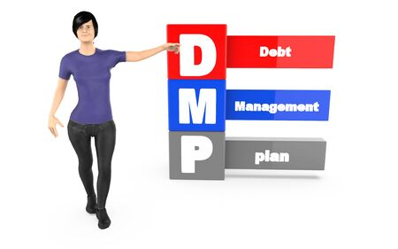 3d character ,woman pointing his hands towards debt managment plan - 3d rendering Reklamní fotografie