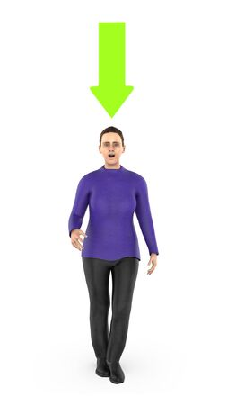 3d character , woman and a green downward pointing arrow above his head- 3d rendering Reklamní fotografie