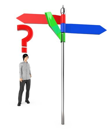 3d character , woman , standing in front of a arrow sign board , question mark over his head - 3d rendering