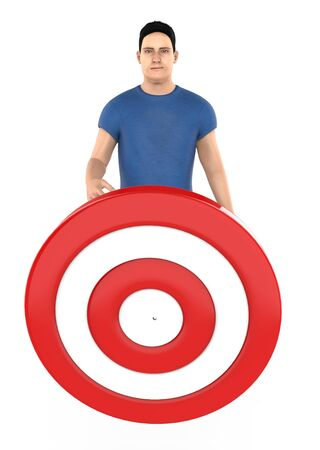 3d character , man and a dart target board - 3d rendering