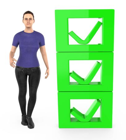 3d character , woman and checkmark list - 3d rendering Stok Fotoğraf - 133422986
