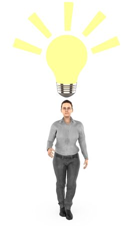 3d character , woman surprised , illuminated bulb near to his head- 3d rendering