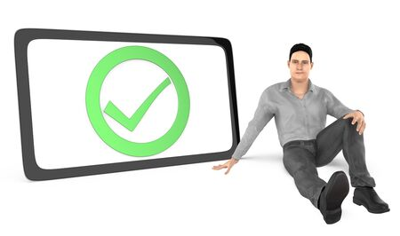 3d character , men sitting next to a tick mark sign bounded by a circle inside a curved edge black border - 3d rendering