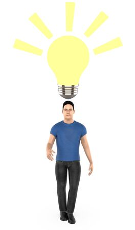 3d character , man surprised , illuminated bulb near to his head- 3d rendering