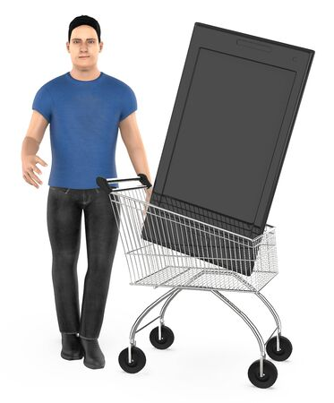 3d character , man cart with a smartphone- 3d rendering Фото со стока