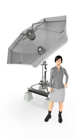 3d character , woman , standing near to a dish antenna - 3d rendering Stock fotó