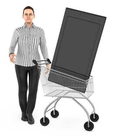 3d character , woman cart with a smartphone- 3d rendering Фото со стока - 133423082