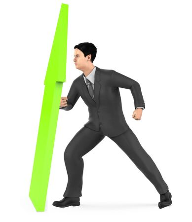 3d character , man elevating a arrow upward- 3d rendering 版權商用圖片