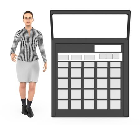 3d character , woman and a calculator - 3d rendering