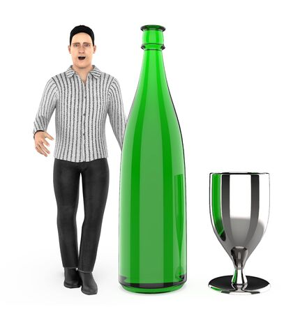 3d character , man with a wine bottle and a glass- 3d rendering