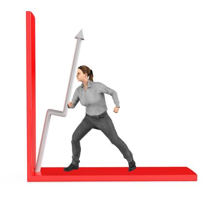 3d character , woman , push arrow in a graph - 3d rendering