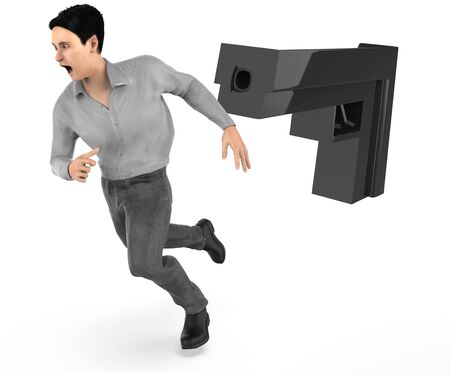 3d character , man runing away from a gun point - 3d rendering Stock Photo