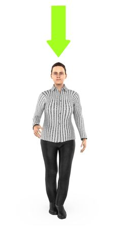 3d character , woman , smiling and a green downward pointing arrow above his head- 3d rendering