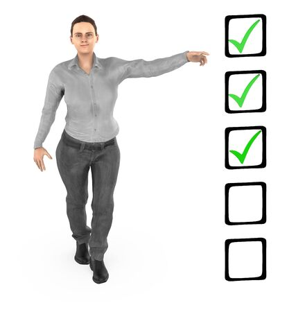 3d character ,woman pointing hands towards a checkmark list - 3d rendering Stok Fotoğraf - 133423531
