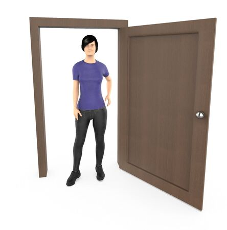 3d character , woman standing near to a opened doorway - 3d rendering