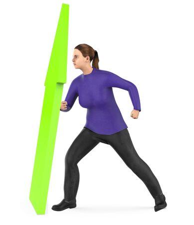 3d character , woman elevating a arrow upward- 3d rendering