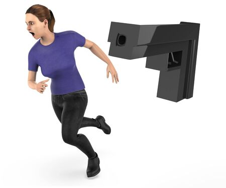 3d character , woman runing away from a gun point - 3d rendering Stock Photo