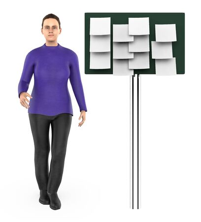 3d character , woman and a board with empty notes in it - 3d rendering
