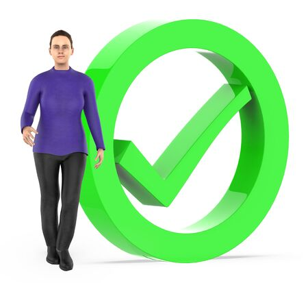 3d character , women and tick mark sign bounded by a circle - 3d rendering Stok Fotoğraf - 133423760