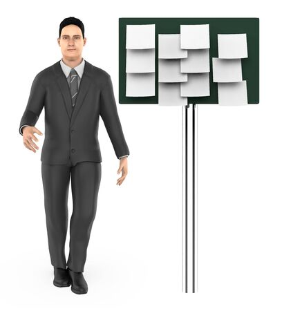 3d character , man and a board with empty notes in it - 3d rendering