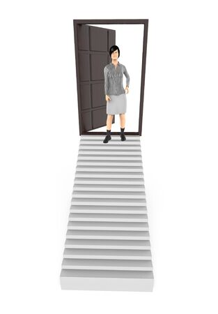 3d character , woman standing in a stair ending towards a opened dooway