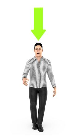 3d character , man and a green downward pointing arrow above his head- 3d rendering