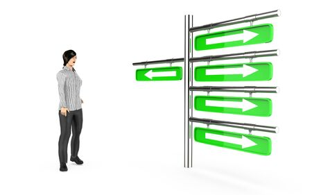 3d character , woman looking at a post with arrows suggesting different directions - 3d rendering