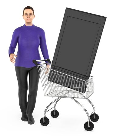 3d character , woman cart with a smartphone- 3d rendering