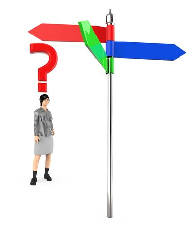 3d character , woman , standing in front of a arrow sign board , question mark over his head - 3d rendering Stok Fotoğraf - 133424052