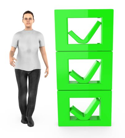3d character , woman and checkmark list - 3d rendering