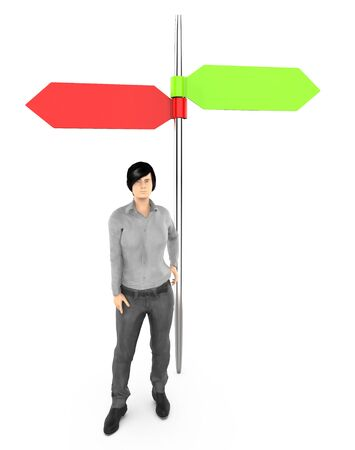 3d character , woman standing near to a empty different direction pointed arrows sign board