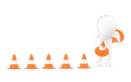 3d white character clearing or putting traffic cones concept- 3d rendering 스톡 콘텐츠