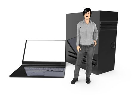 3d character ,woman and a laptop and a cpu - 3d rendering